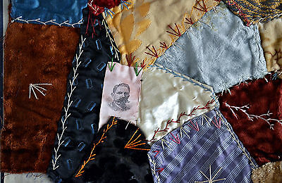 Antique Hand Stitched 19th century Crazy Quilt Block with Embroidery *