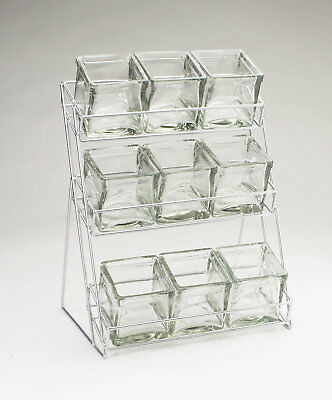 Cal-Mil 3 Tier Wire Rack with 9 Jars Silver