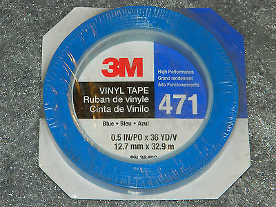 "NEW ROLL OF 3M 36408 471 BLUE HIGH PERFORMANCE VINYL TAPE 1/2"" INCH x 36 YARDS"