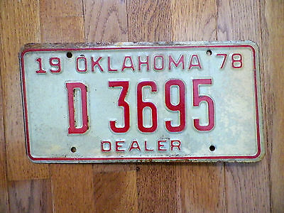 **CLOSEOUT** Embossed Metal 1978 Oklahoma Dealer License Plate Tag