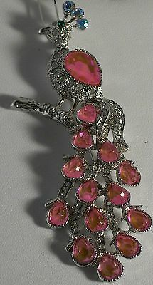 Pink AB Clear Crystal Wonderful Peacock Pin Brooch Necklace