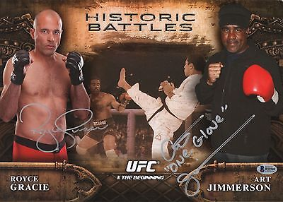 Royce Gracie Art Jimmerson Signed UFC 2009 Topps Round 1 Gold RC Card PSA//DNA