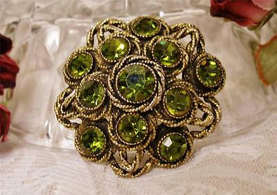 Beautiful Signed Har Peridot Color Faceted Rhinestone Dome Brooch