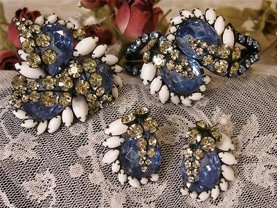 Spectacular Huge Vtg Alice Caviness Crystal Rhinestone Bracelet/Brooch/Ear Set