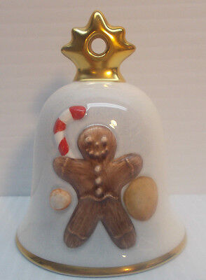 GOEBEL GINGERBREAD MAN 2005 ANNUAL CHRISTMAS BELL ORNAMENT 22nd. EDITION c