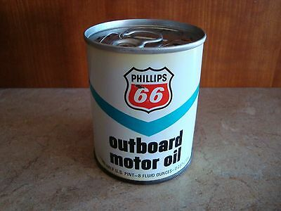 Vintage Phillips 66 Outboard Motor Oil Metal Can 8 Oz