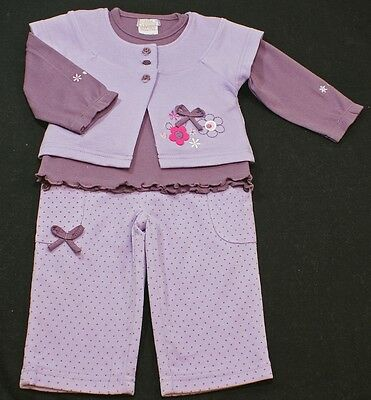 Baby girl trouser top gilet cardigan outfit set LILAC purple 6-12 month BNWTS