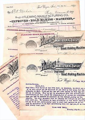 RARE Letterhead Billhead LOT - 1891 Fleming Road Making Machinery Fort Wayne IN