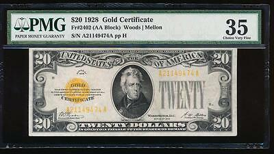 AC Fr 2402 1928 $20 Gold Certificate PMG 35 comment