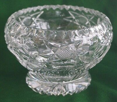 """Beautiful Vintage Cut Glass Crystal 6"""" Footed Bowl With Sawtooth Rim"""