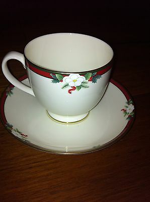 Christmas China Cup & Saucer Set Pfaltzgraff Yuletide pattern