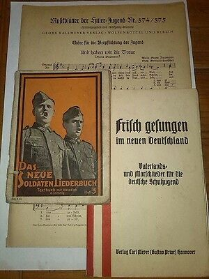 WW2 Original German military & Hitler Youth song books & Music notes wehrmacht