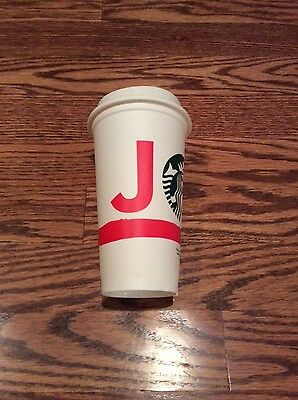 NEW Unused Starbucks 2015 Holiday Reusable Plastic White Cup Tumbler JOY 16oz