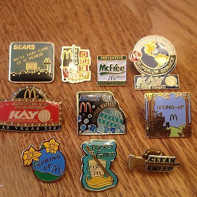 McDonald's Cleaning/Maint. Collector Pins (Includes Bucket and Mop-2 Spring Up)
