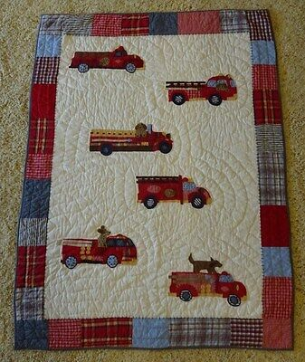 Pottery Barn kids Fire Engine toddler quilt and sham
