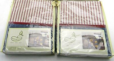 "LOT OF 2 PEM AMERICA BEANSPROUT NAUTICAL PATCH VC5102-3300 VALANCES 58""x14"""