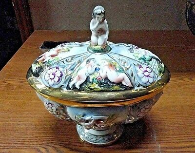 Rare! Capodimonte Italy Hand Painted/Numbered Covered Cherub Footed Bowl 1366/77