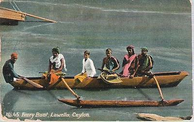Lewella, Ceylon (Sri Lanka) - Ferry Boat - postcard, KEII stamp 1915 censor mark