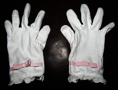 Gymboree Garden Bloom white gloves with eyelet & pink bow Easter 5 6 7 girls'
