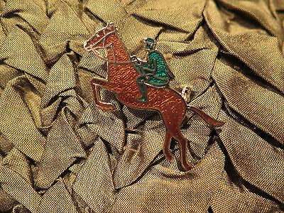 HORSE Pin Brooch VINTAGE Enamel JUMPER JOCKEY Hunter Scarf or Hat Pin UNIQUE!