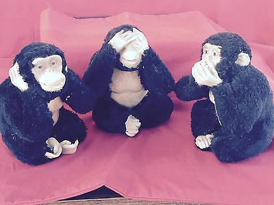 Vintage Three Large Wise Monkeys - Fur with Plastic/Resin - Quirky - Unusual
