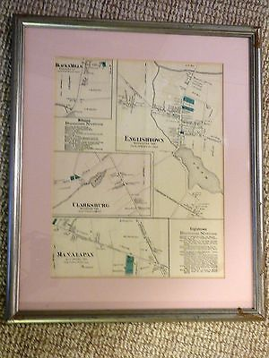 1873 FW Beers Hand Colored Map Englishtown NJ Manalapan Millstone  Framed