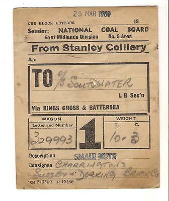 National Coal Board Wagon Label Stanley Colliery to Southwater
