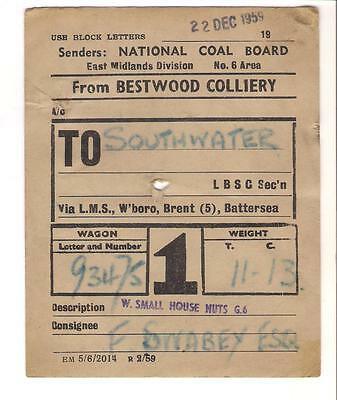 National Coal Board Wagon Label Bestwood Colliery, Notts, to Southwater