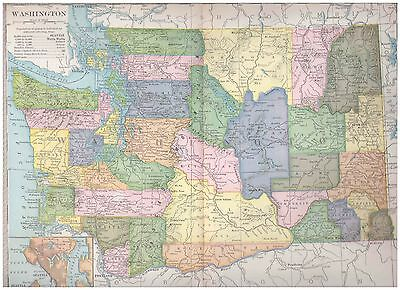 1904 color map Washington. 9 by 12