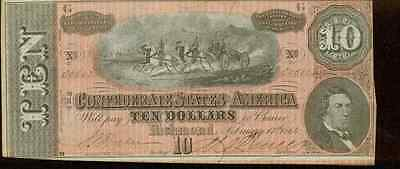 1864 Confederate States of America $10 Note Type 68 Artillery