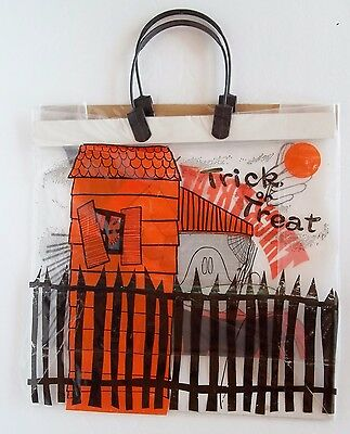 """VINTAGE Clear Plastic Halloween Trick Treat Bag 80's Never Used 13"""" Witch House"""