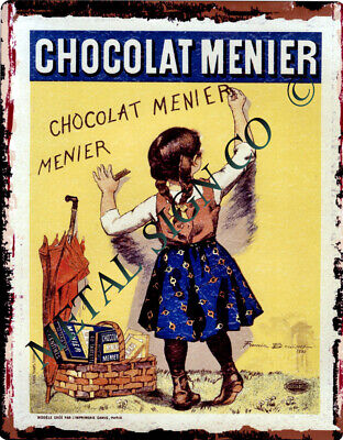 FRENCH  CHOCOLATE MENIER METAL SIGN VINTAGE STYLE SMALL coffee sweet shop tin