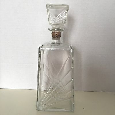 """Vintage MCM CRYSTAL GLASS LIQUOR SCOTCH/WHISKEY BAR DECANTER CARAFE Etched 16"""" T"""