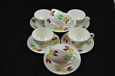 Blue Ridge Pastel Leaf Red Yellow Green set of 6 Cups and Saucers