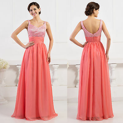 Formal Chiffon Prom Gowns Party Evening Cocktail Long Maxi Dresses Pink [UK 16]