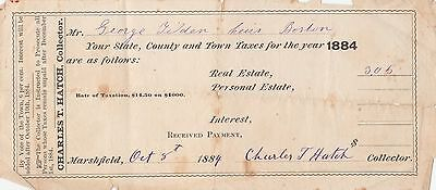 Antique Paper 1884 Tax Receipt Hand Signed By Charles T Hatch Marshfeild Ma