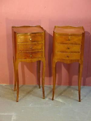 Pair Antique French Inlaid Bow-Fronted King-Wood Bedside Cabinets Chest/ Drawers