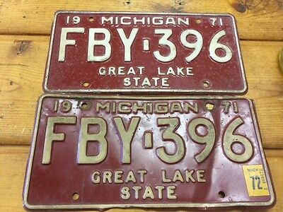 Vintage 1971 Michigan Matching License Plate Pair # FBY-396