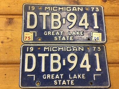 Vintage 1973 Michigan Matching License Plate Pair # DTB-941