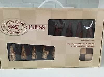Studio Anne Carlton Isle of Lewis Presentation Chess Set with Board New SAC