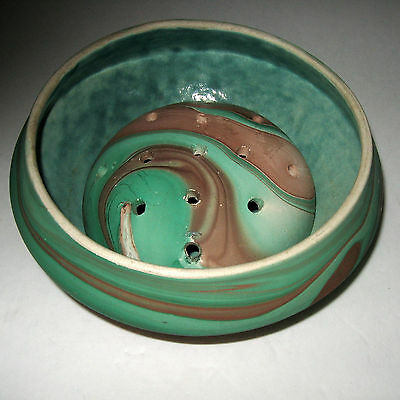 Garden Of The Gods Pottery Colorado Ceramic Swirl Bowl Planter & Matching Frog