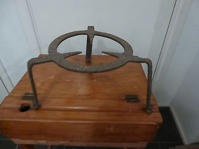 Large Antique American Wrought Iron Kettle Pot Stand Trivet Hearth Kitchen