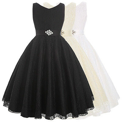 Kids Communion Party Prom Princess Pageant Bridesmaid Wedding Flower Girl Dress