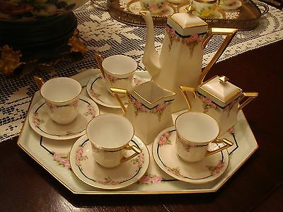 Antique Limoges Coffee Set 4 Cups & Saucers, Pot Sugar Creamer Tray Roses & Gold