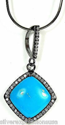 Sleeping Beauty Turquoise 925 Sterling Silver Black Rhodium Necklace 18''