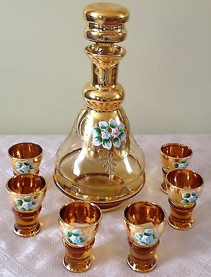 Italian Amber Decanter 6 cordial glasses gold painted & hand painted flower