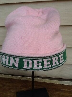 John Deere Knit Hat Pink Stocking Cap Green Trim One Size Fits All