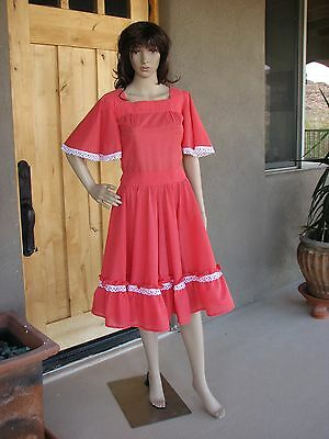 Vintage Square Dance Dress Red Dotted Swiss Rockabilly