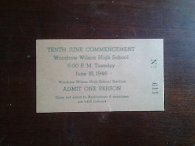 Woodrow Wilson High School 1946 Commencement Admission Ticket