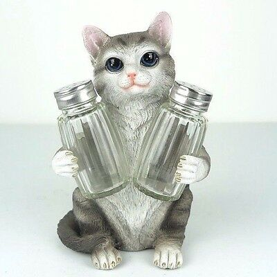 "Salt & Pepper Shaker Cat Grey Tabby Figurine Miniature 7""H New"